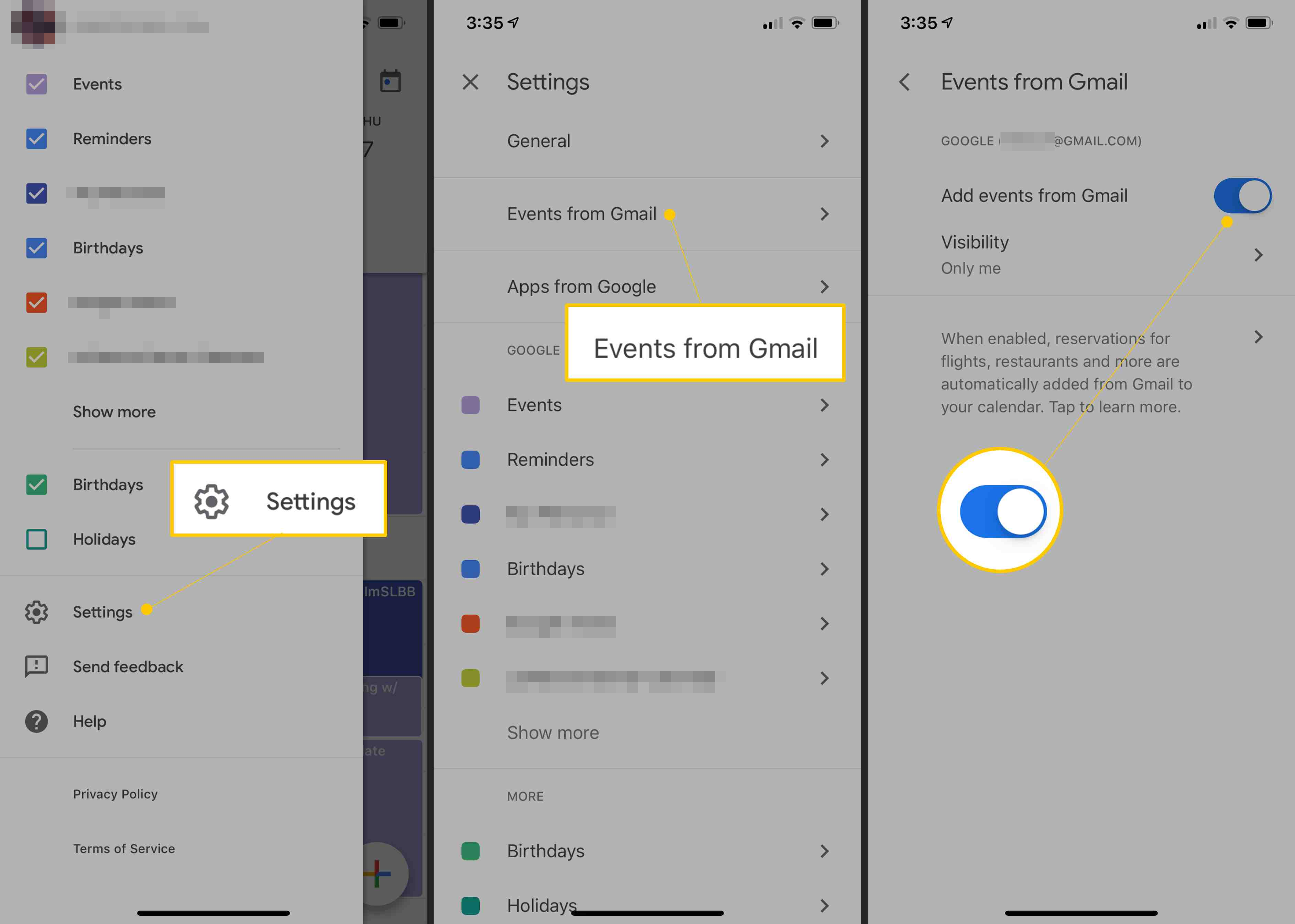 Settings, Events from Gmail, toggle ON in Gmail for iOS settings