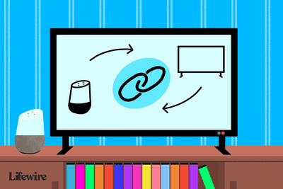 Illustration of a TV showing a Google Home connecting to a TV