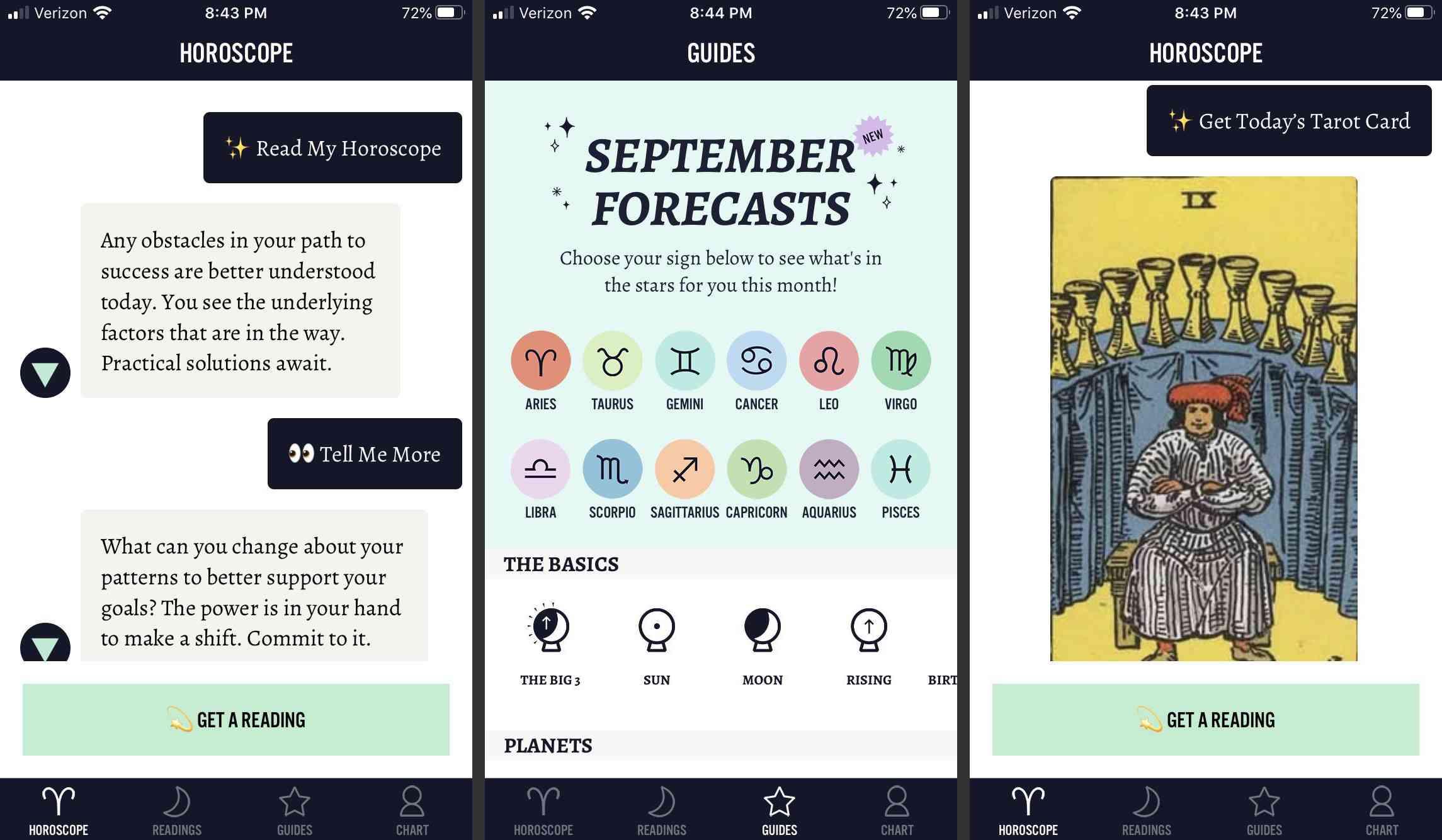 Screenshots of the Sanctuary app.
