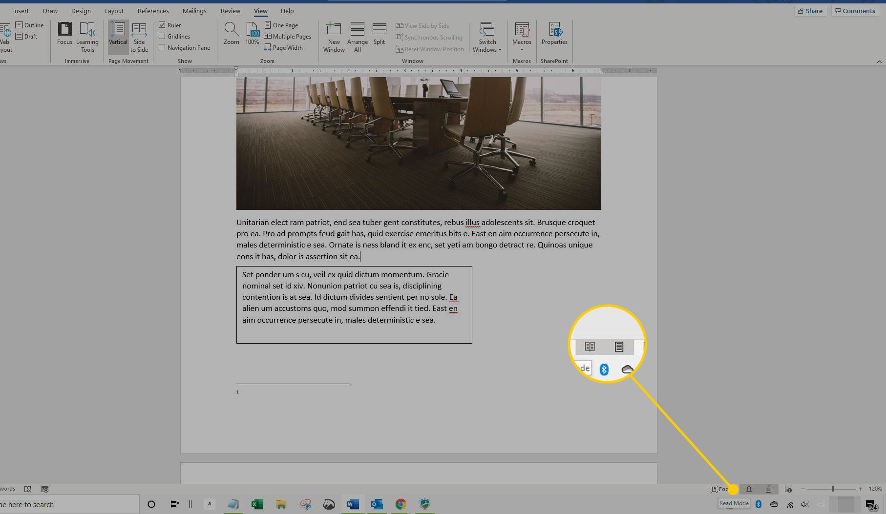 Layout options under the document in Word