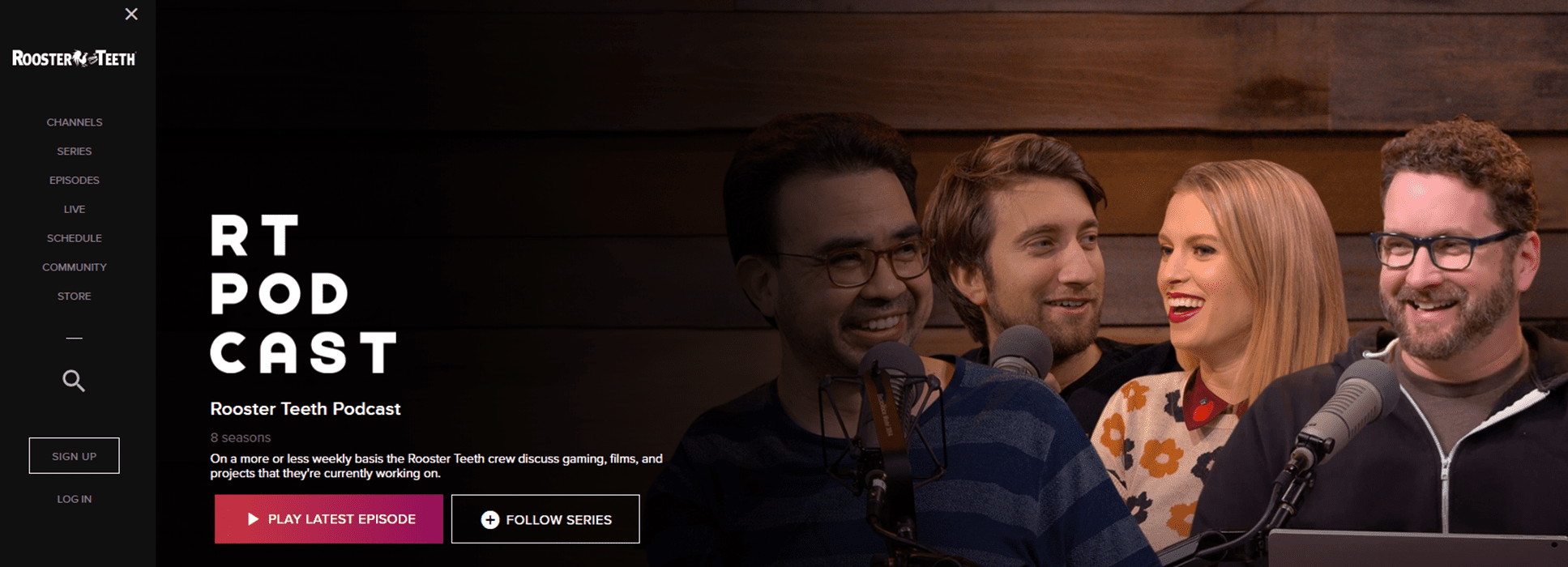 Screenshot from the Rooster Teeth podcast website.