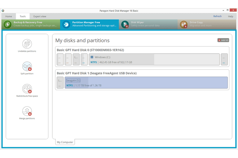 Screenshot of the Paragon Hard Disk Manager Basic v16 program in Windows 8