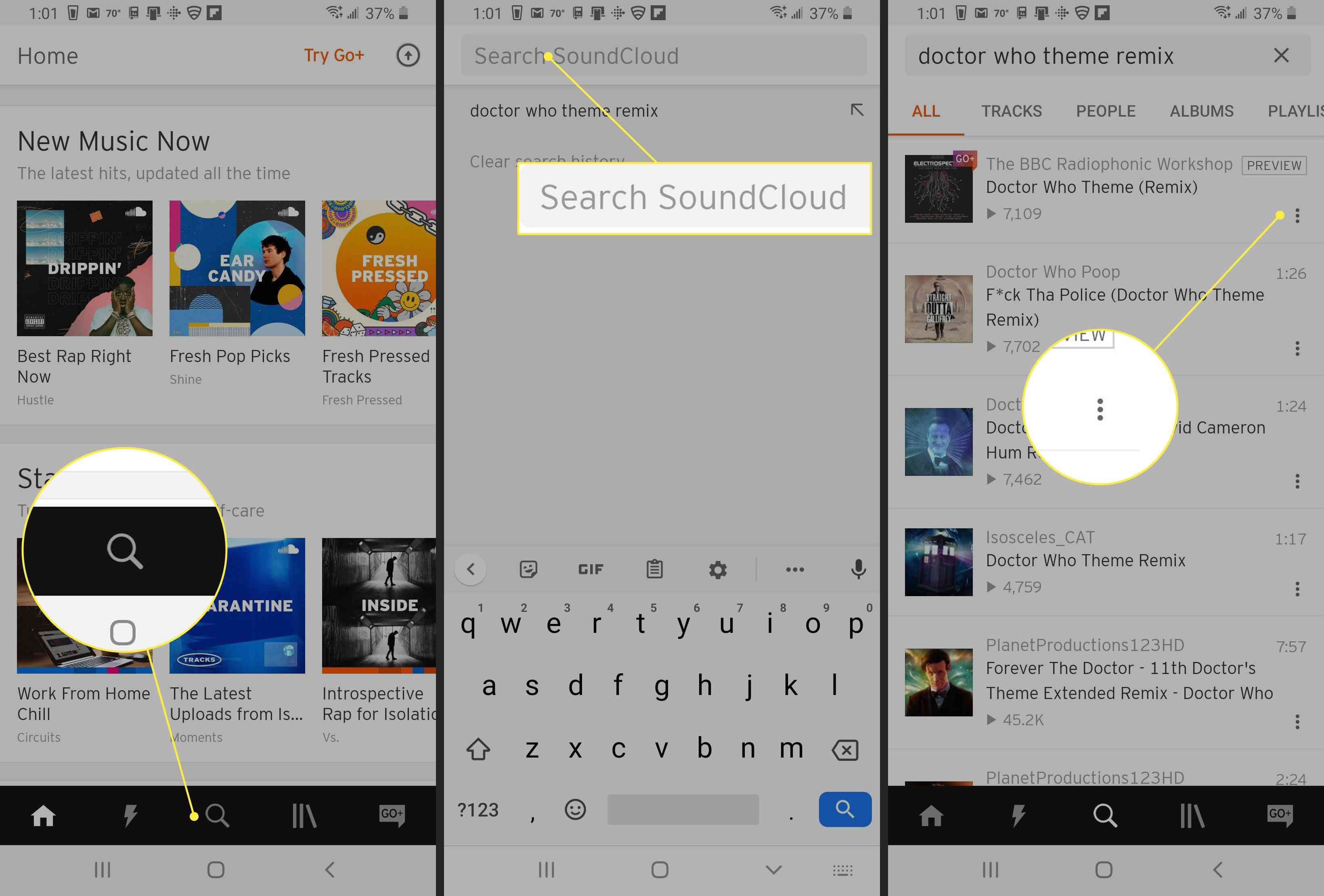 Search options in SoundCloud
