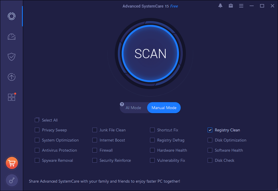 Advanced SystemCare Free 15 manual clean mode options