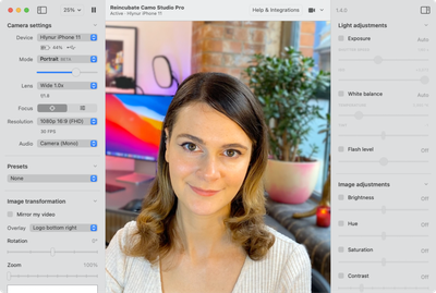 A screenshot from the Reincubate Cameo Studio Pro software of a person in a video conference.