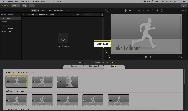 iMovie trailer shot list tab