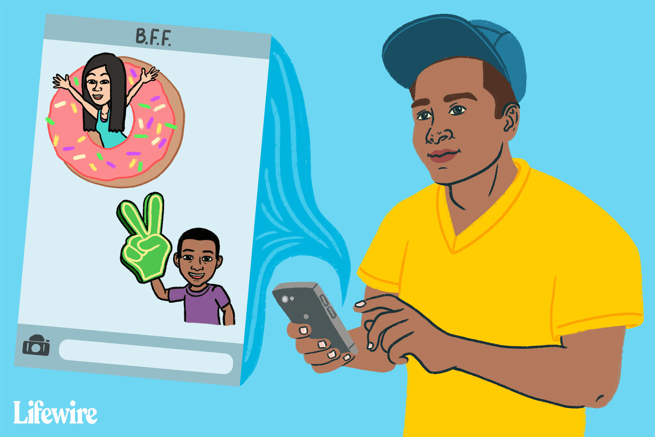 An illustration showing a person using a bitmoji