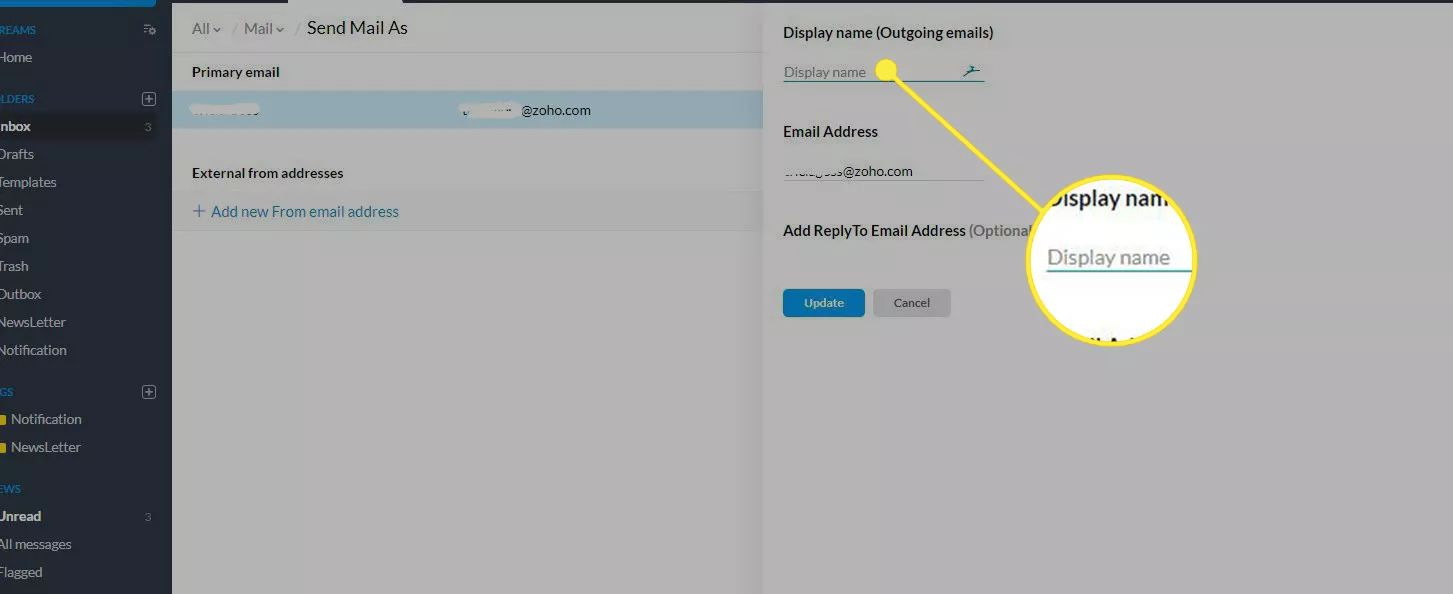 The Zoho Mail app with the 'Display name' field highlighted