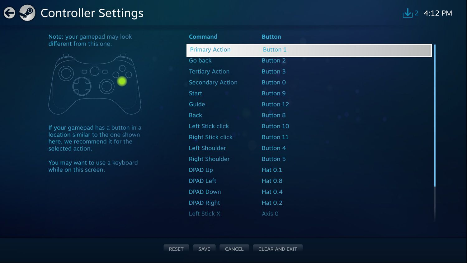 Steam Big Picture controller layout settings