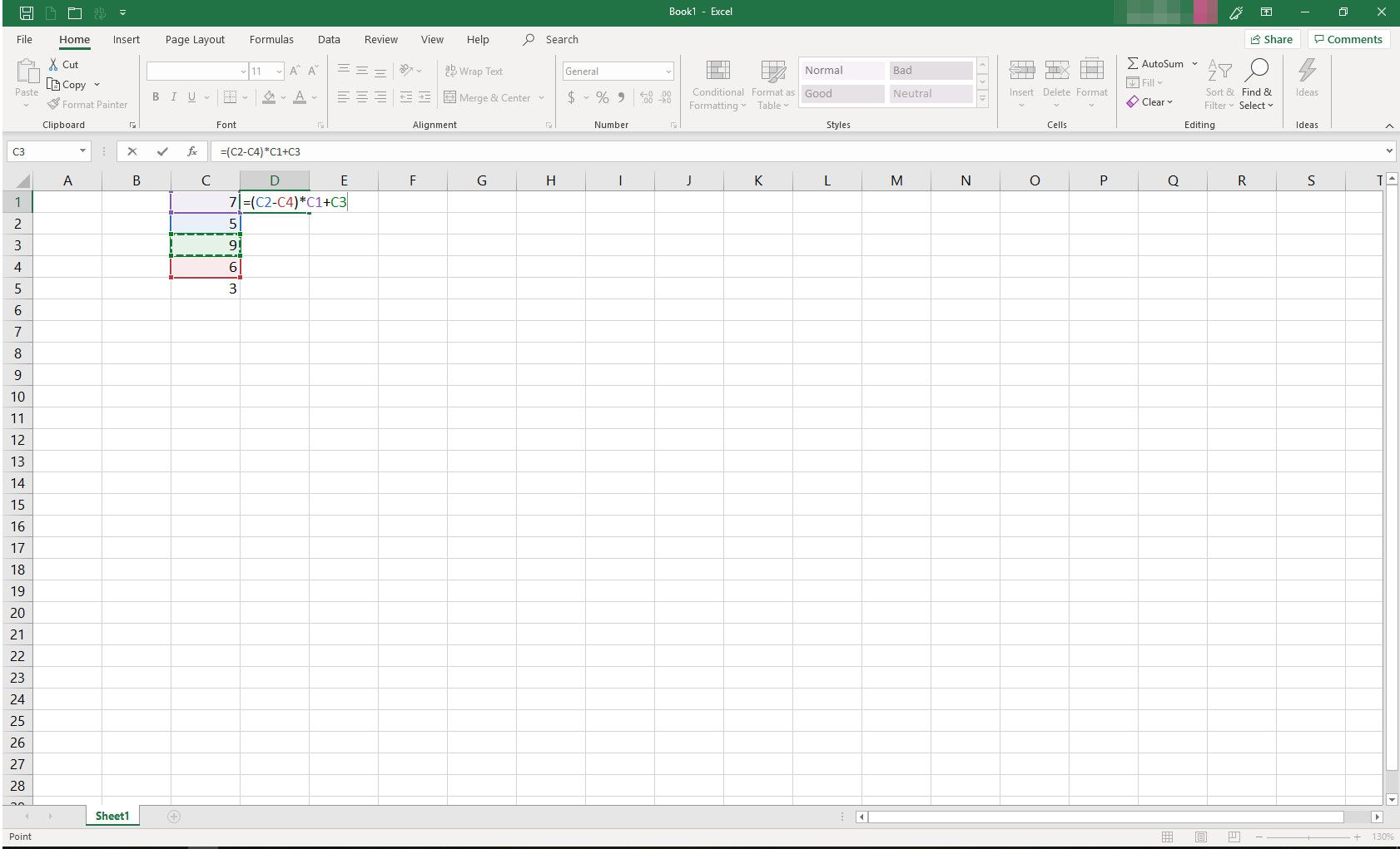 MS Excel with formula in progress