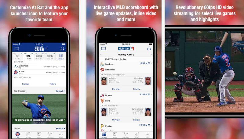 MLB app screenshots