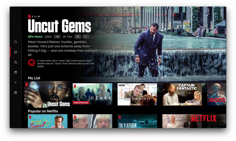 Netflix app on Apple TV