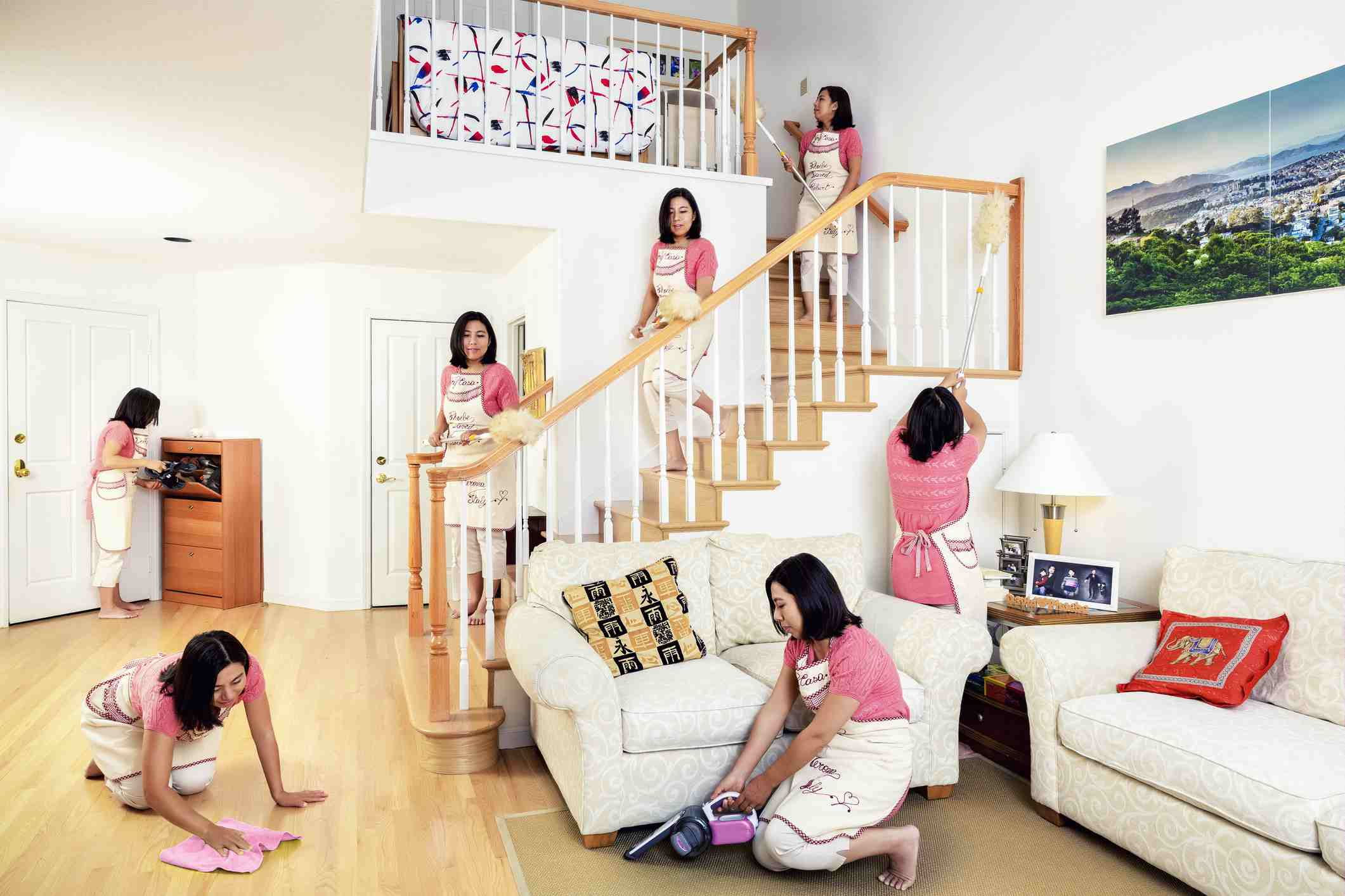 Multiple versions of a woman working throughout her house