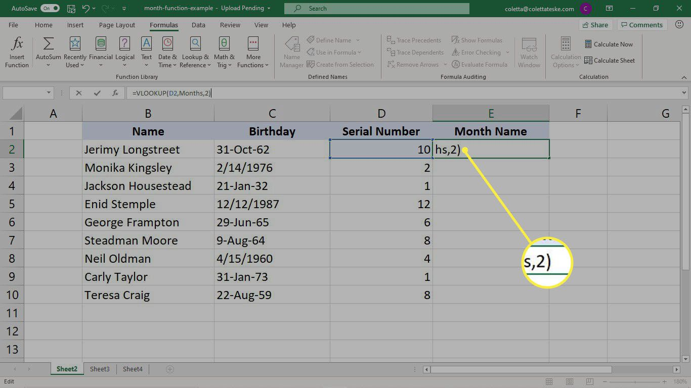 Completing the VLOOKUP formula to convert a serial number to text in Excel