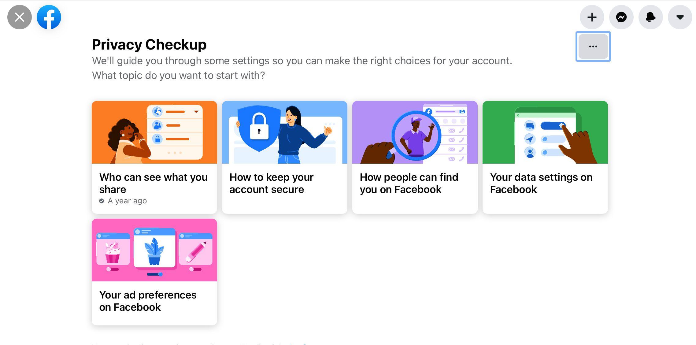 Privacy Checkup main screen in Facebook