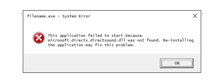 Screenshot of a Microsoft.directx.directsound DLL error message in Windows