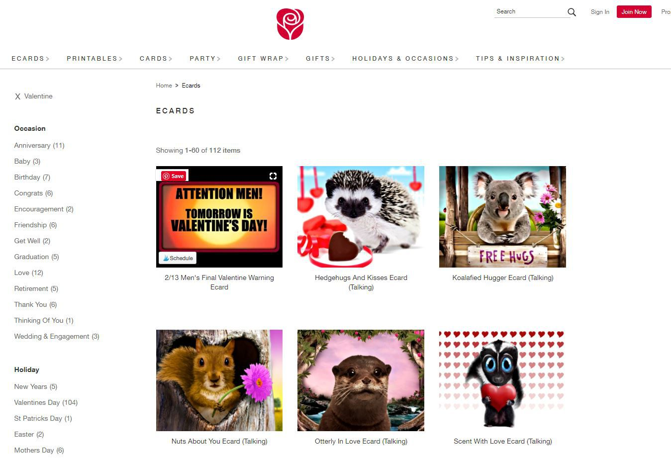 Valentine's e-cards on American Greetings website