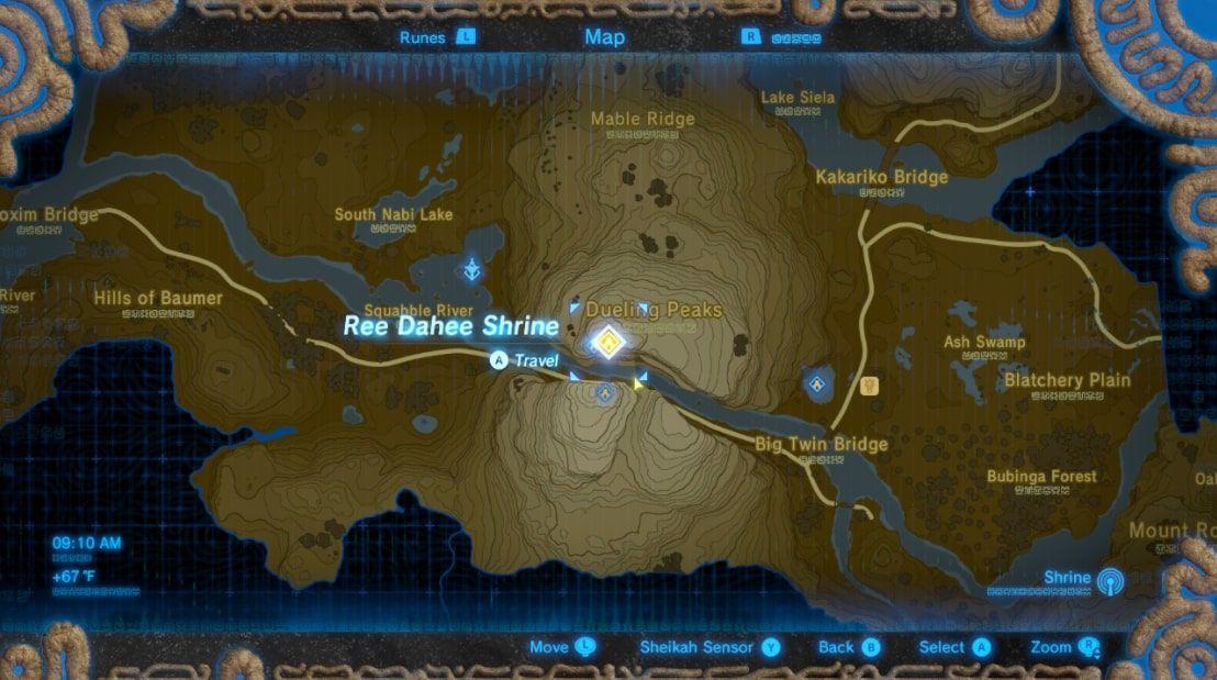 Ree Dahee Shrine location in Zelda BOTW