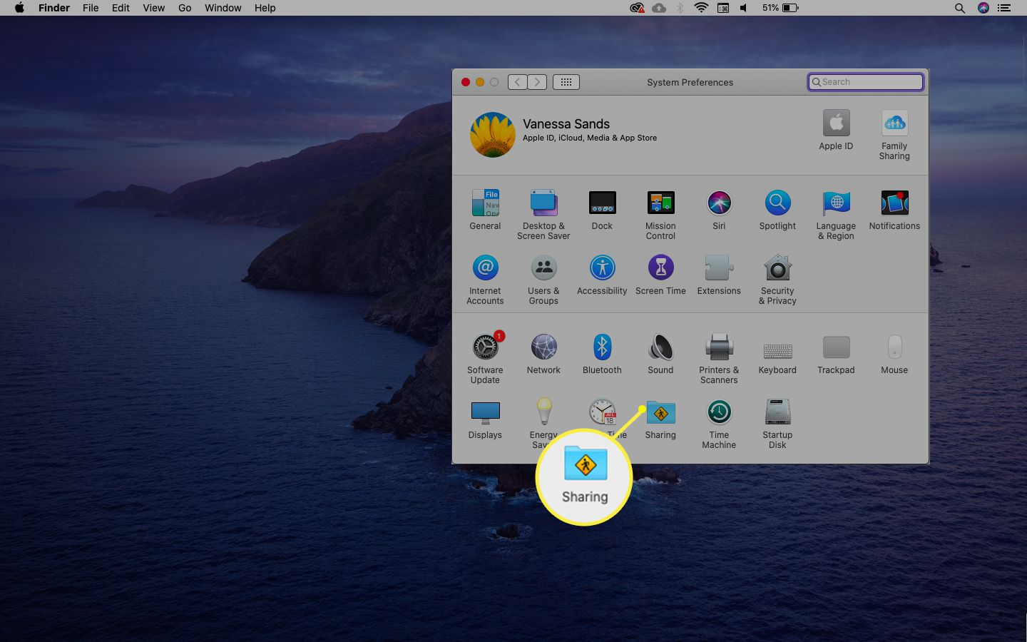 macOS Sharing option from the System Preferences menu