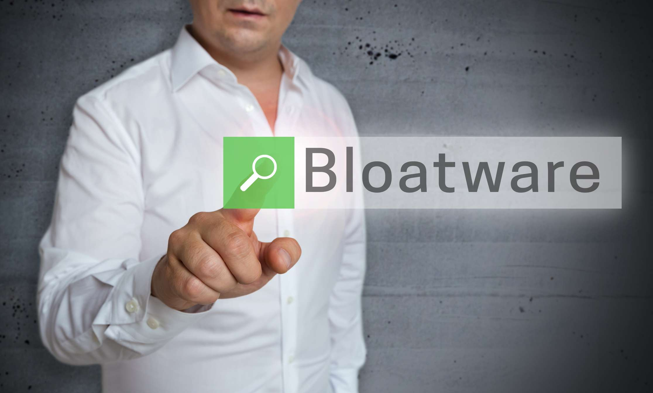 Bloatware on screen in front of man