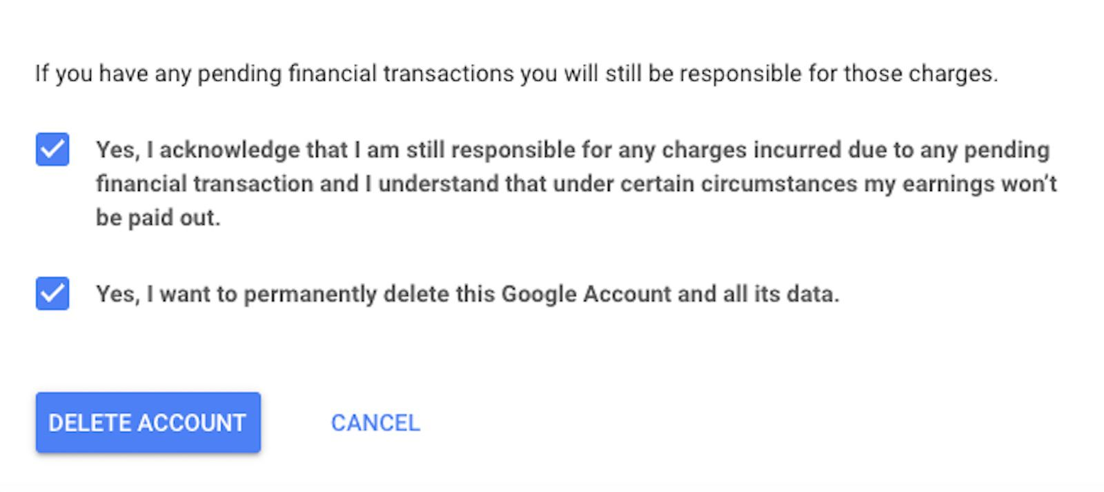 Delete account screen on Google website