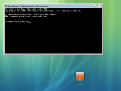 Net user command for changing Vista password in Command Prompt