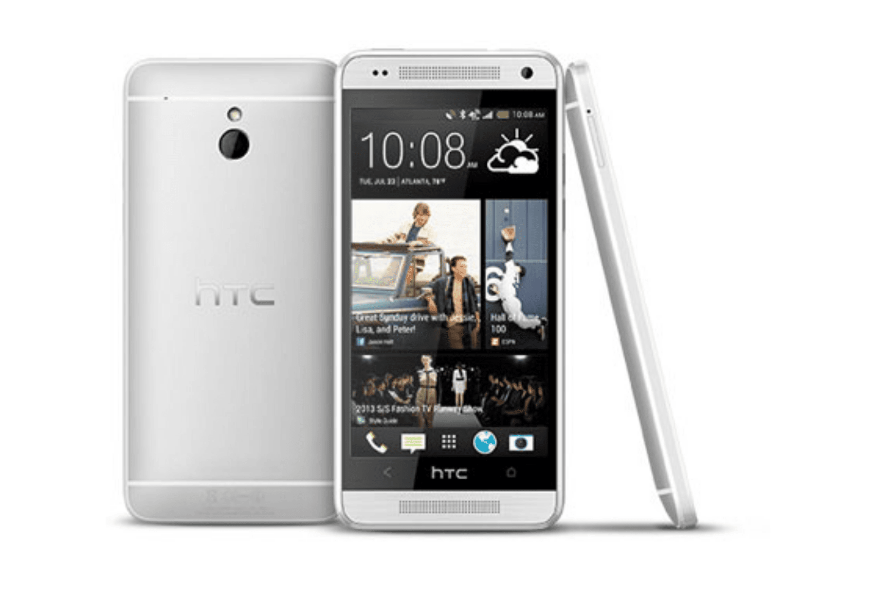 HTC One Mini smartphones, seen from back, front, and side