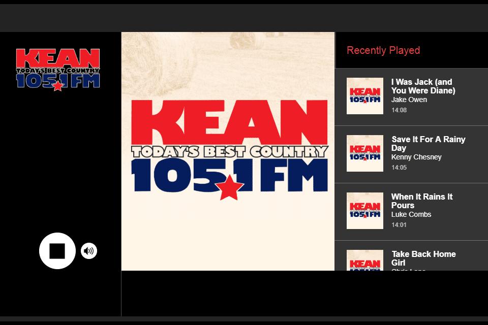 Screenshot of the KEAN 105.1 FM online radio station