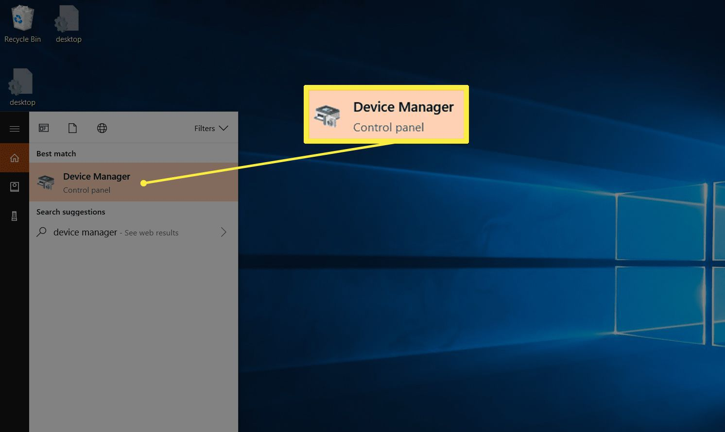 Device Manager Control panel in Windows 10