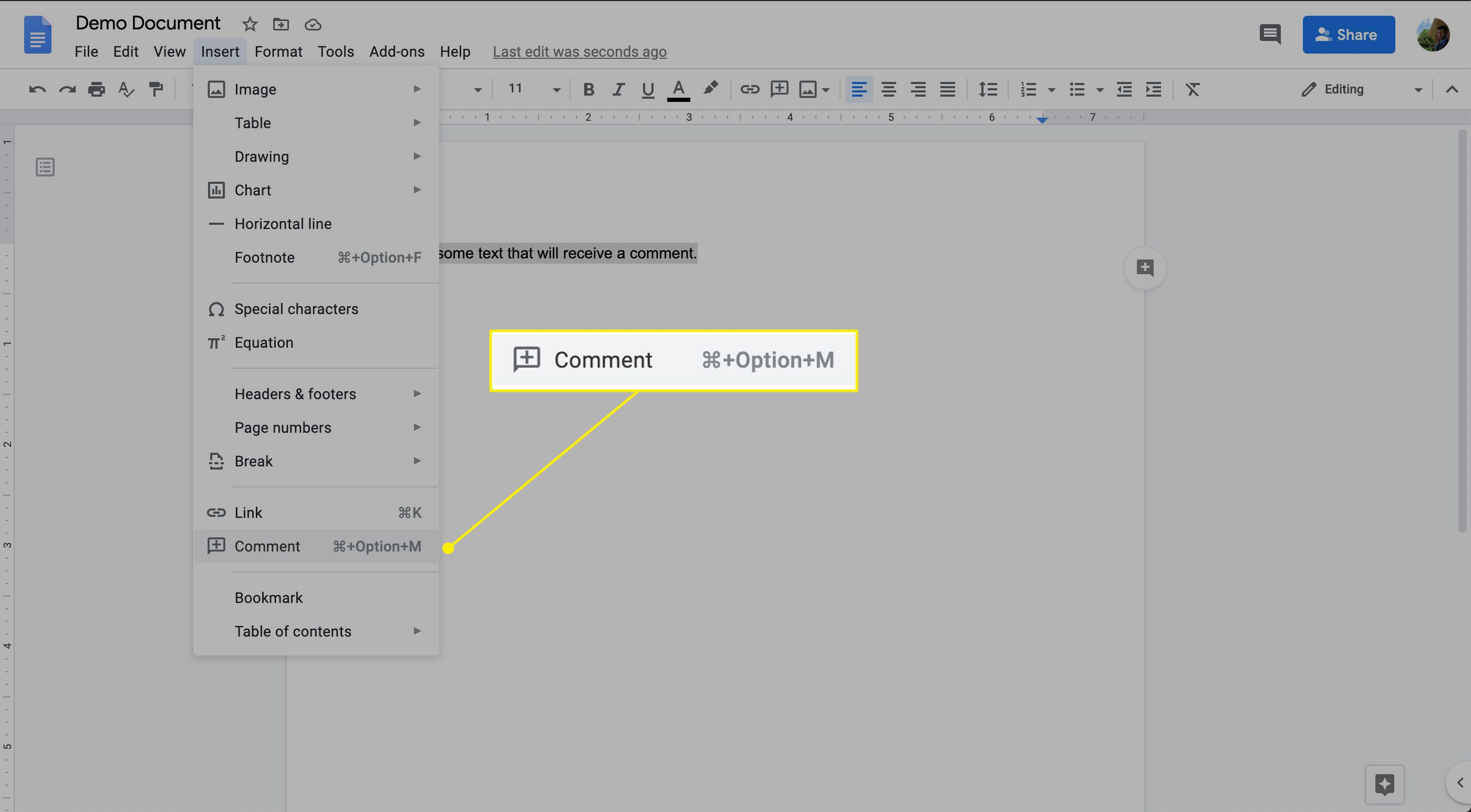 The Insert Comment command in Google Docs