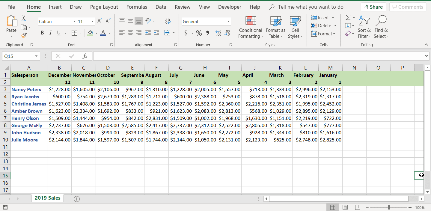 A screenshot of the header row with cells flipped in Excel.