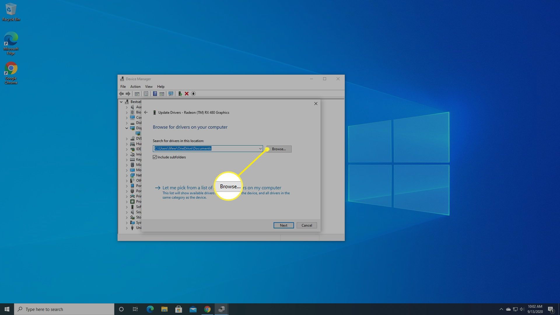 Ask Windows to locate the driver you downloaded