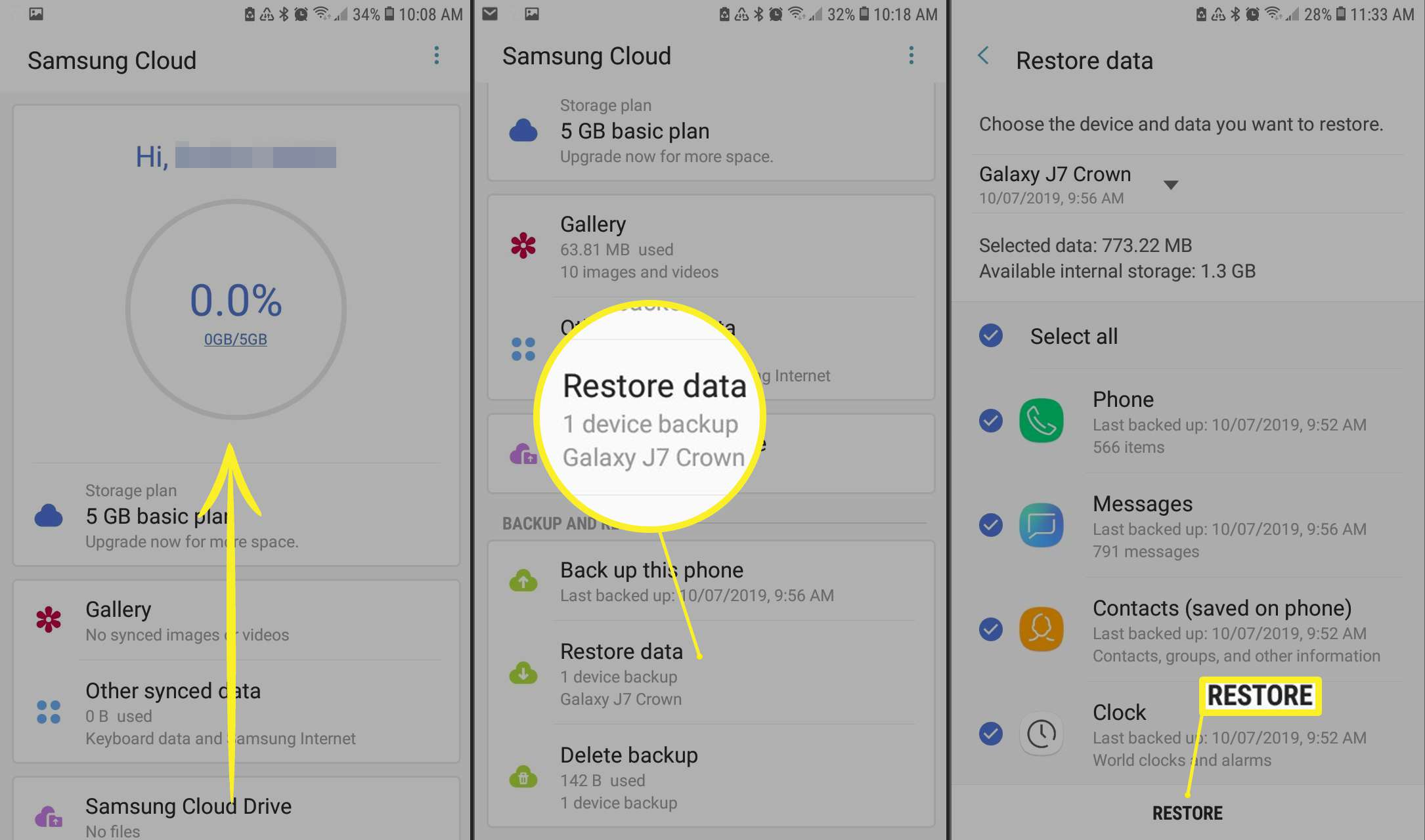 Restoring data in Samsung Cloud