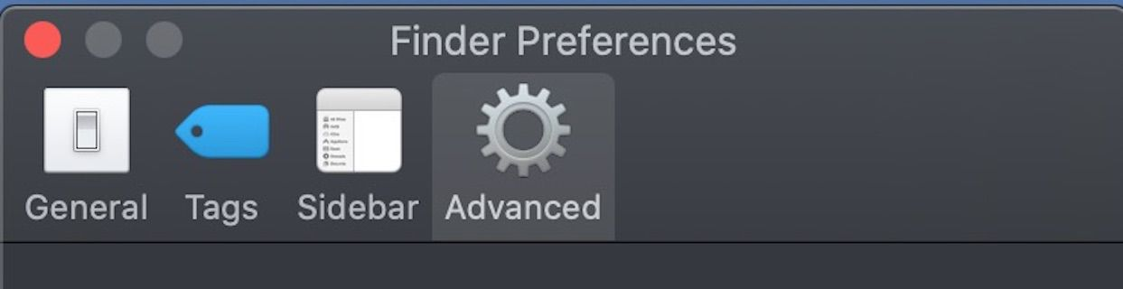The Advanced tab in Finder Preferences