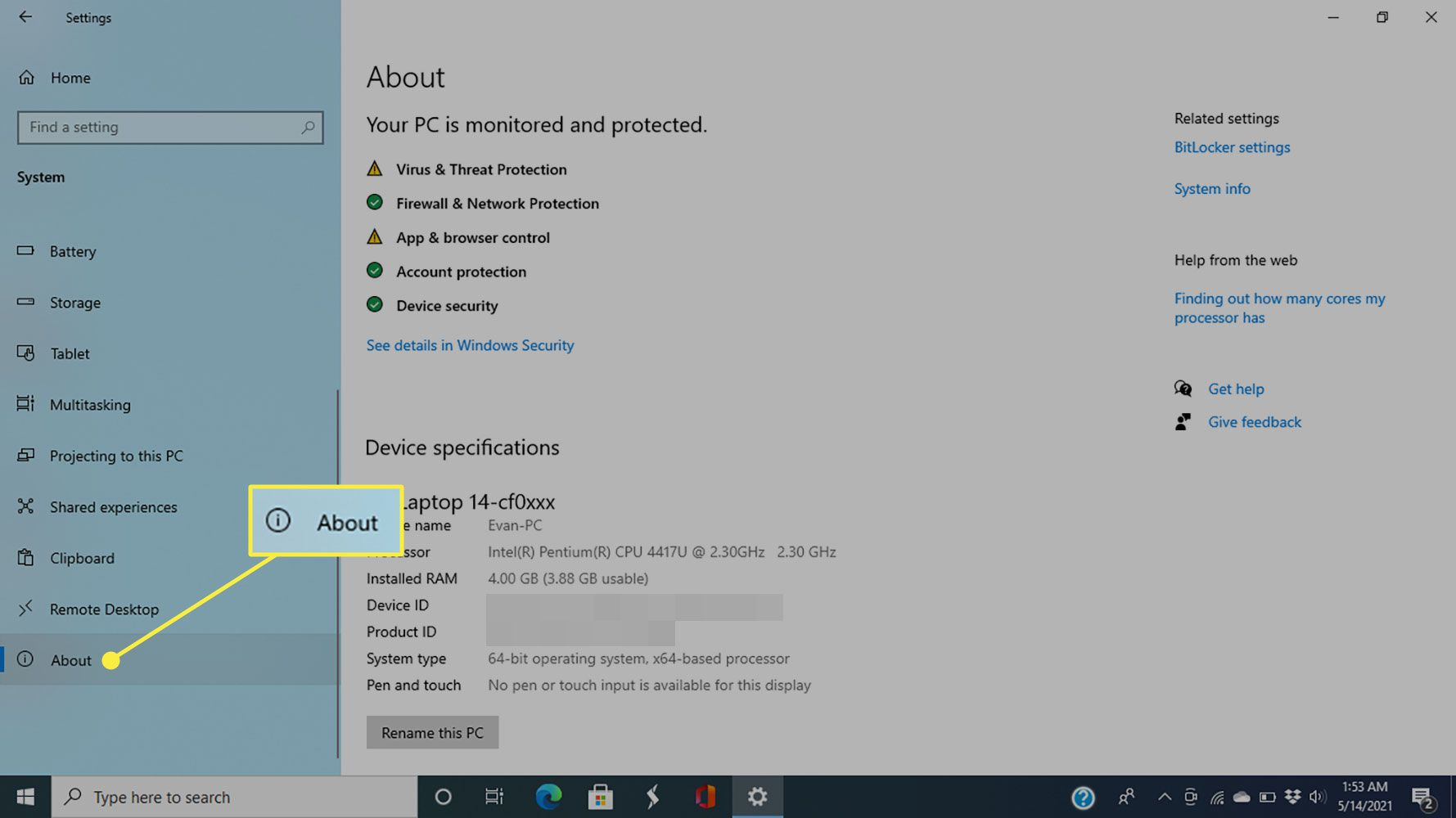 About in Windows 10 System settings