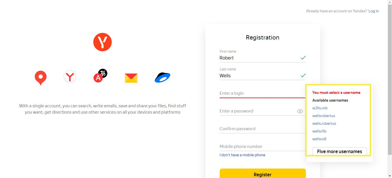 Yandex Mail Registration page with user name options highlighted
