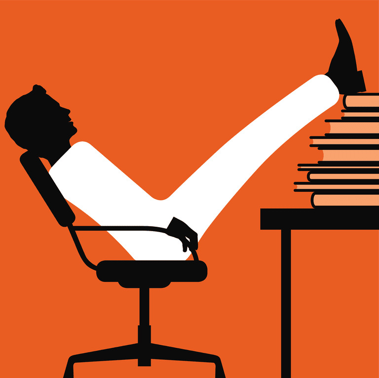 Illustration of a man in a chair with his feet on a stack of books on a table