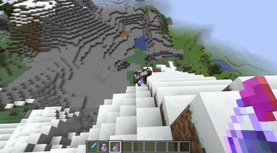 Throwing a luck potion in Minecraft.