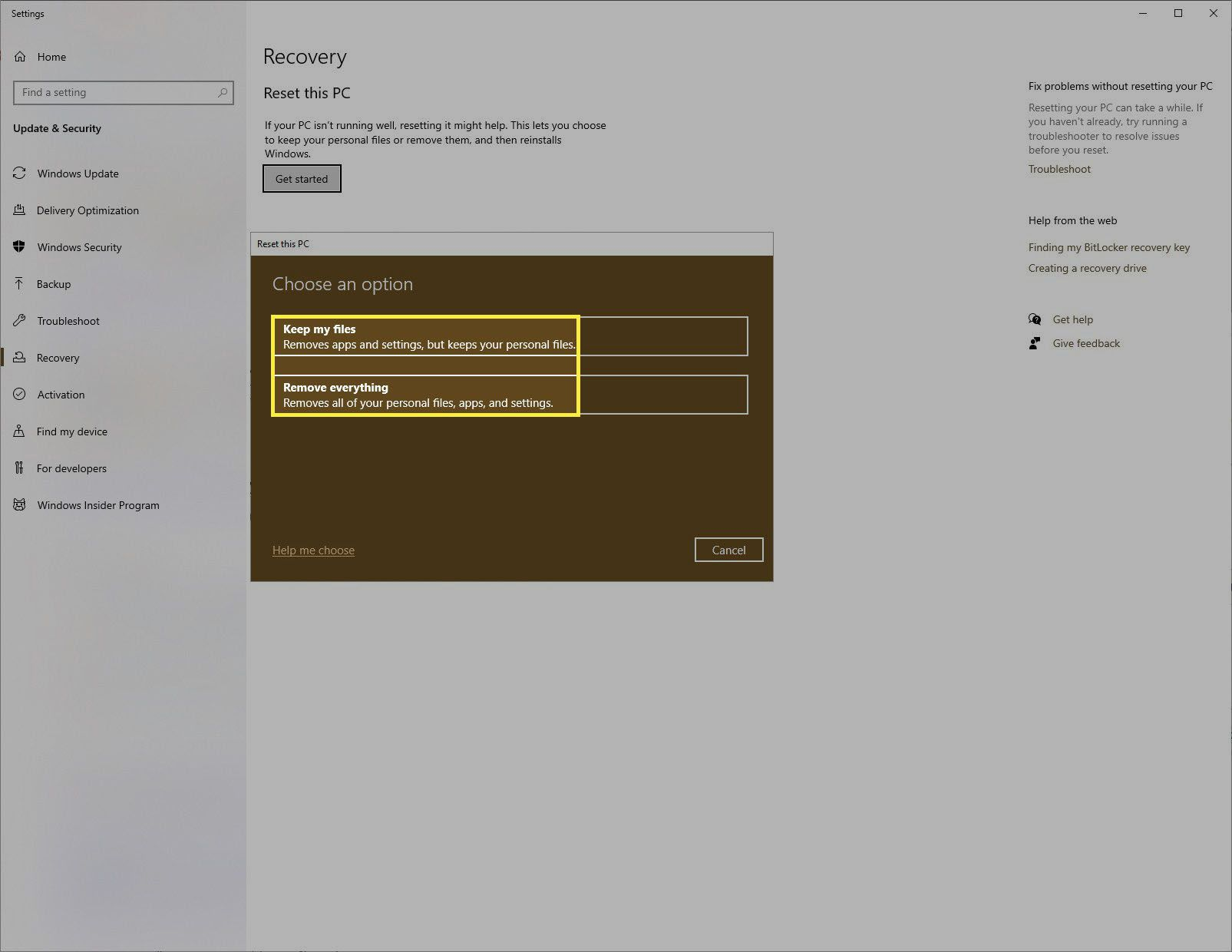 Reset this PC options Windows 10