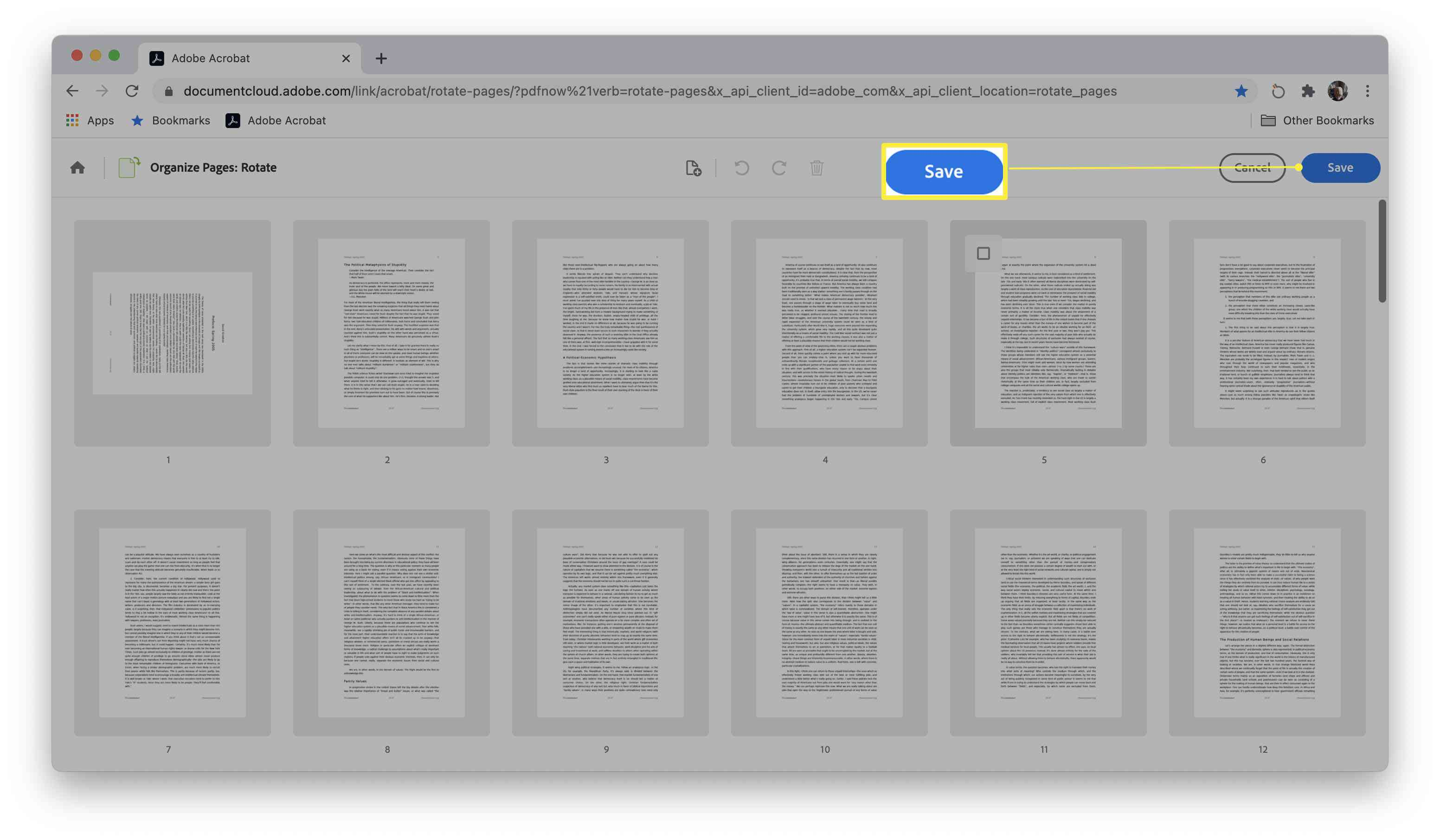 Adobe rotating PDF site with Save dialog box highlighted after manipulating PDF