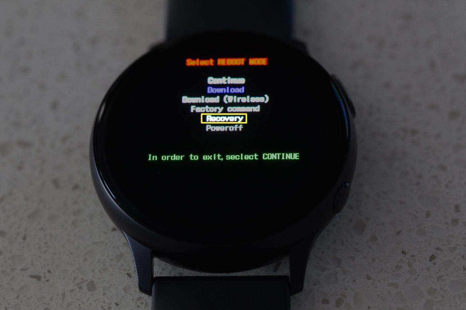 The Reboot menu with Recovery selected on the Samsung Galaxy Watch Active2.