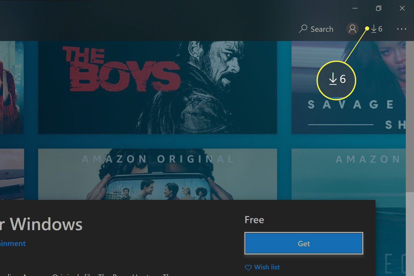 Windows Store with the Downloads and Updates icon highlighted.