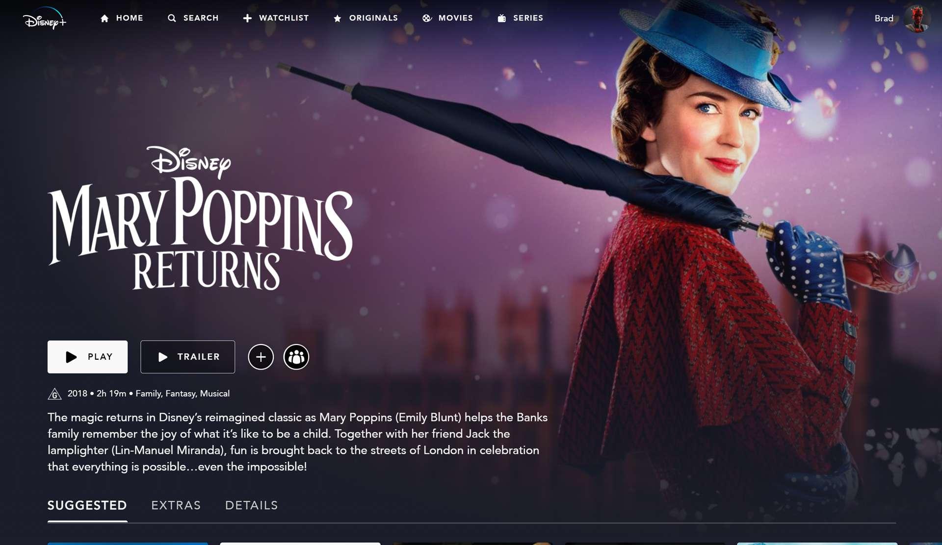 Disney kids movie Mary Poppins Returns on Disney Plus.