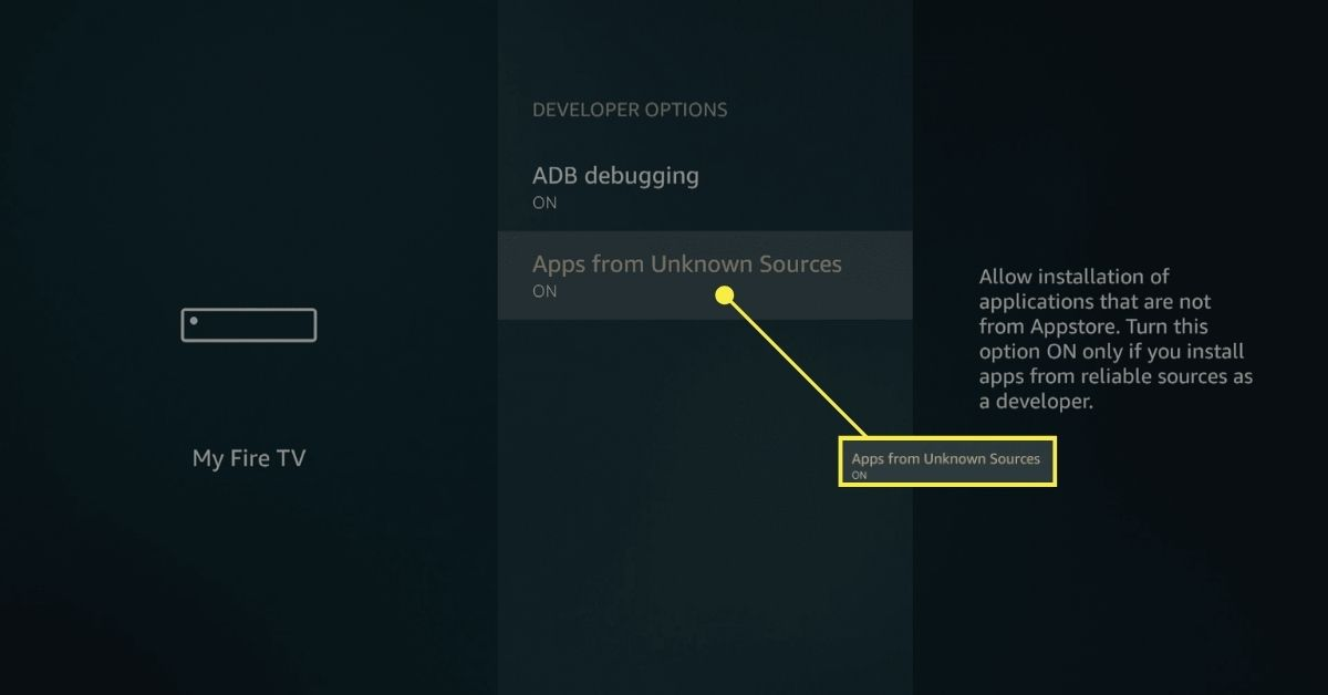 Fire TV developer options with sideloading enabled.