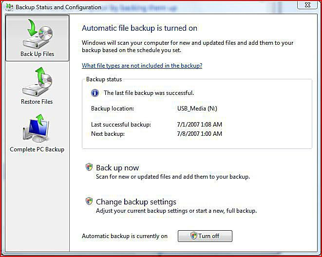 Backup and Restore Data in Windows Vista