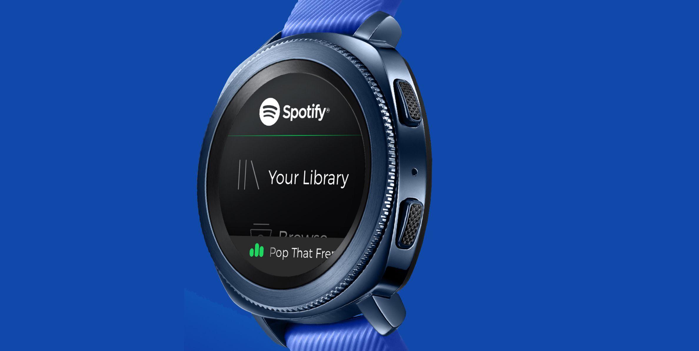 Spotify screen on Gear Sport watch.