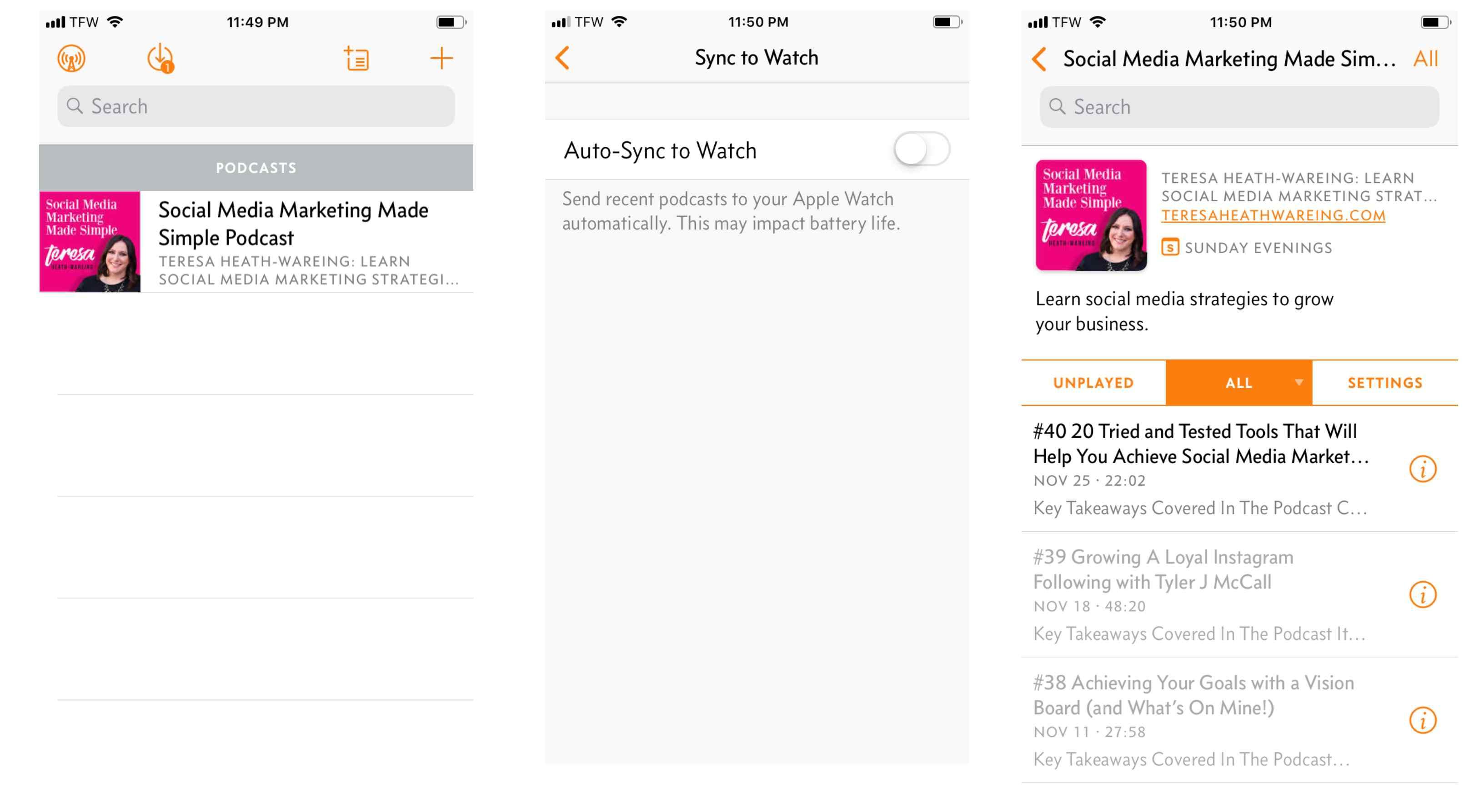 Screenshot of Overcast app on iPhone