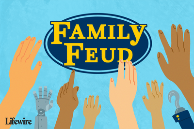 Illustration of a Family Feud logo with several hands being raised in the foreground