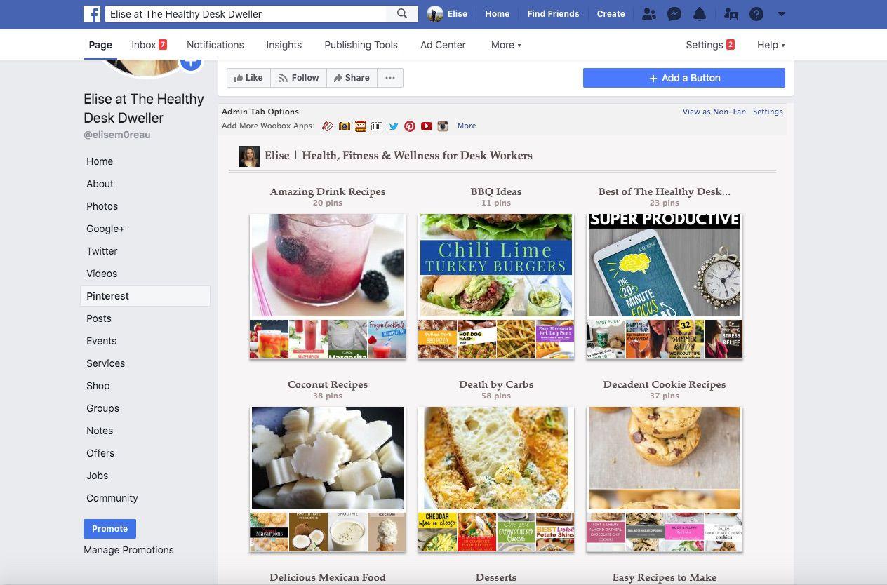 Pinterest boards displayed on Facebook.com.