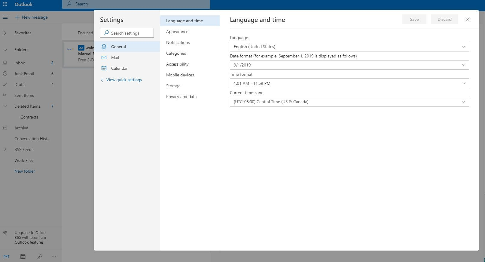 Changing the Default Language on Outlook com